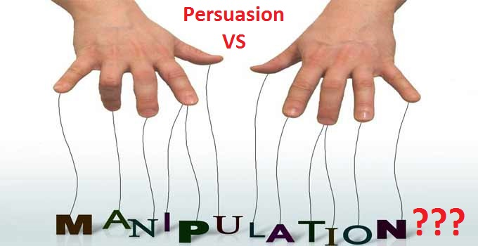 what is the difference between persuasion and manipulation The line between persuasion and manipulation as this year's scienceonline together conference approaches, i've been thinking about the ethical dimensions of using empirical findings from psychological research to inform effective science communication (or really any communication.